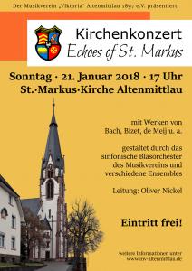 """Kirchenkonzert """"Echoes of St. Markus"""" am 21.1.2018 um 17 Uhr in der St.-Markus-Kirche, Altenmittlau"""